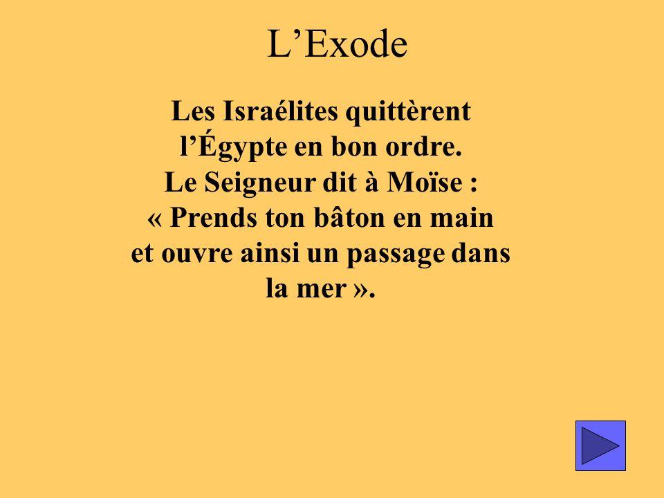 LExode Les Israélites quittèrent lÉgypte en bon ordre. Le Seigneur dit à Moïse : « Prends ton bâton en main et ouvre ainsi un passage dans la mer ».