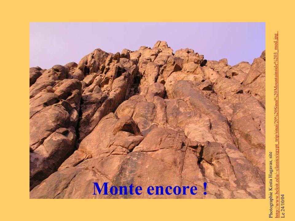 Monte encore ! Photographie Kosta Hagavas, site http://www.beloit.edu/~classics/egypt_trip/sinai/20%20Sinai%20Mountainside%203_med.jpg Le 24/10/04