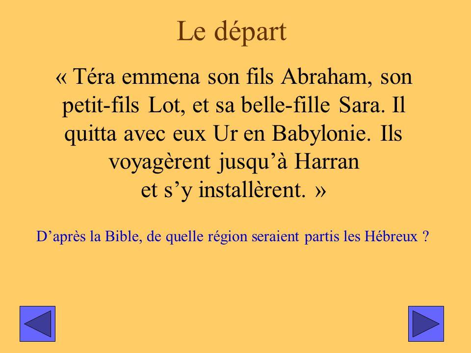 Le départ « Téra emmena son fils Abraham, son petit-fils Lot, et sa belle-fille Sara. Il quitta avec eux Ur en Babylonie. Ils voyagèrent jusquà Harran