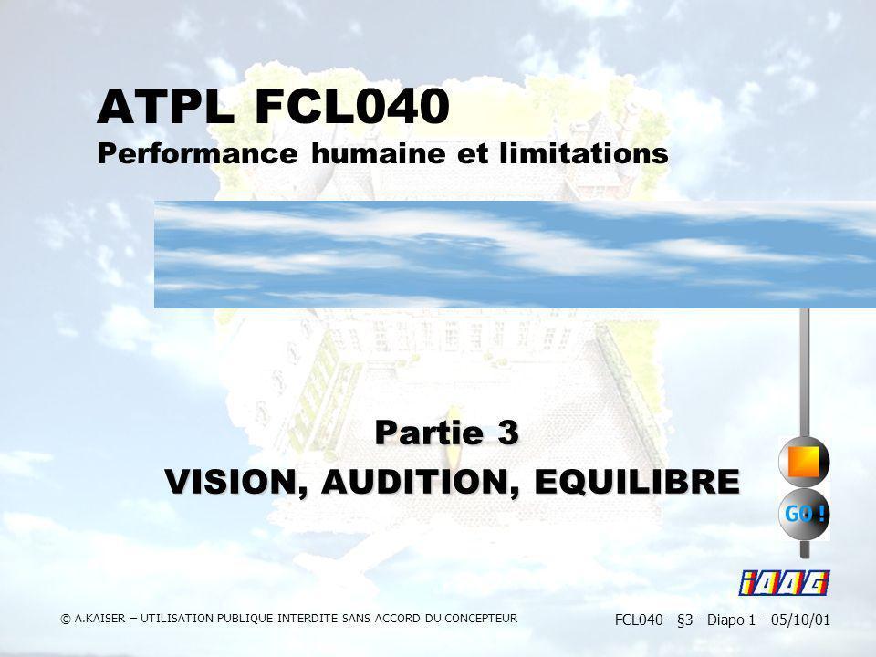 FCL040 - §3 - Diapo 1 - 05/10/01 © A.KAISER – UTILISATION PUBLIQUE INTERDITE SANS ACCORD DU CONCEPTEUR ATPL FCL040 Performance humaine et limitations
