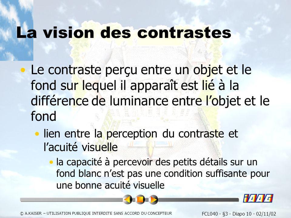 FCL040 - §3 - Diapo 10 - 02/11/02 © A.KAISER – UTILISATION PUBLIQUE INTERDITE SANS ACCORD DU CONCEPTEUR La vision des contrastes Le contraste perçu en