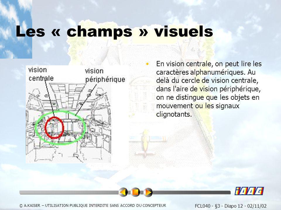 FCL040 - §3 - Diapo 12 - 02/11/02 © A.KAISER – UTILISATION PUBLIQUE INTERDITE SANS ACCORD DU CONCEPTEUR Les « champs » visuels En vision centrale, on