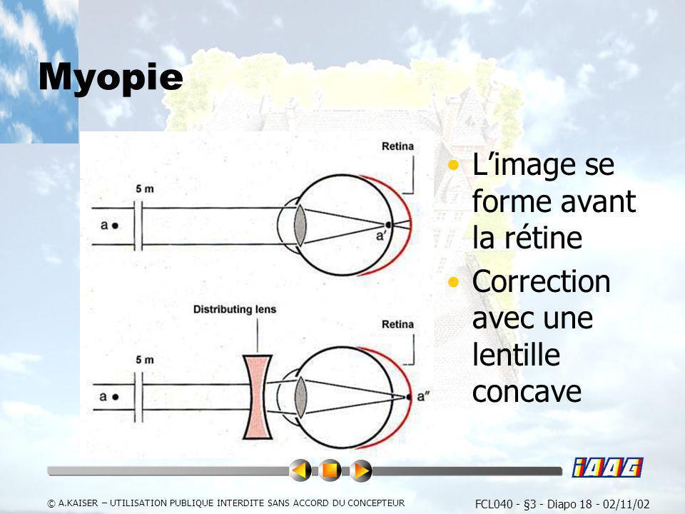FCL040 - §3 - Diapo 18 - 02/11/02 © A.KAISER – UTILISATION PUBLIQUE INTERDITE SANS ACCORD DU CONCEPTEUR Myopie Limage se forme avant la rétine Correct