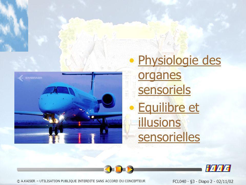 FCL040 - §3 - Diapo 2 - 02/11/02 © A.KAISER – UTILISATION PUBLIQUE INTERDITE SANS ACCORD DU CONCEPTEUR Physiologie des organes sensorielsPhysiologie d