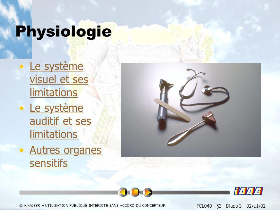 FCL040 - §3 - Diapo 3 - 02/11/02 © A.KAISER – UTILISATION PUBLIQUE INTERDITE SANS ACCORD DU CONCEPTEUR Physiologie Le système visuel et ses limitation