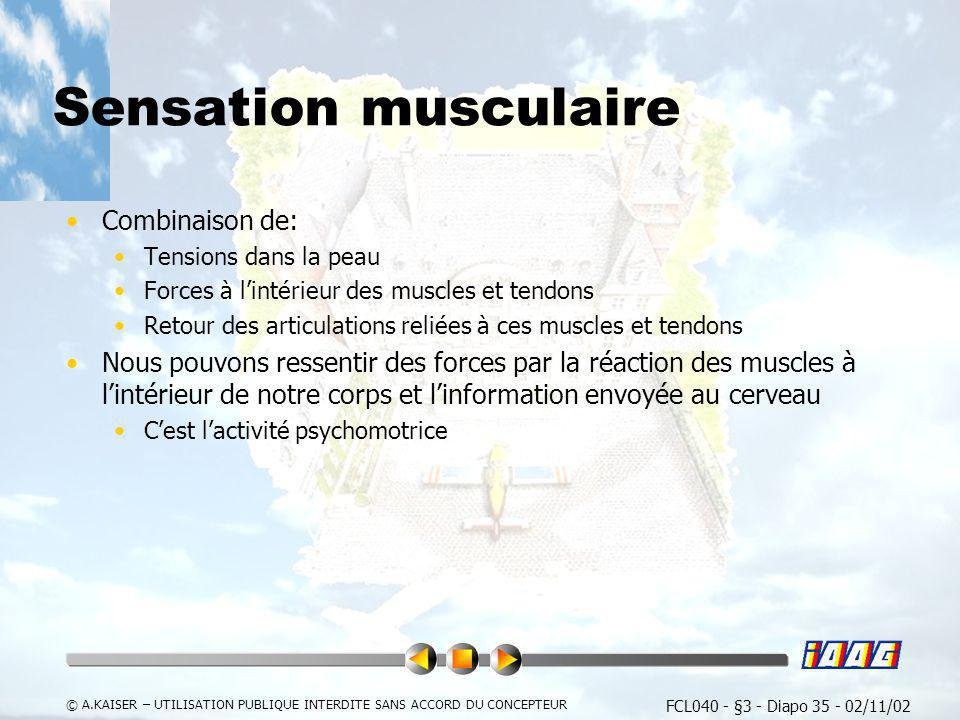 FCL040 - §3 - Diapo 35 - 02/11/02 © A.KAISER – UTILISATION PUBLIQUE INTERDITE SANS ACCORD DU CONCEPTEUR Sensation musculaire Combinaison de: Tensions