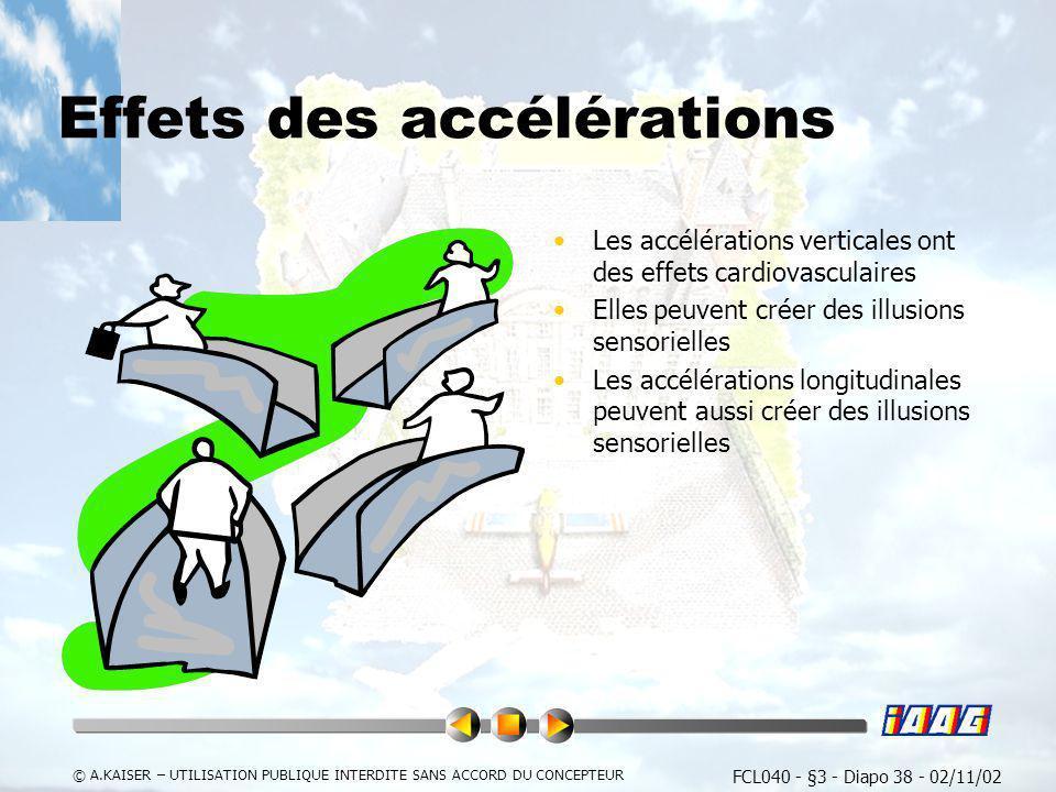 FCL040 - §3 - Diapo 38 - 02/11/02 © A.KAISER – UTILISATION PUBLIQUE INTERDITE SANS ACCORD DU CONCEPTEUR Effets des accélérations Les accélérations ver