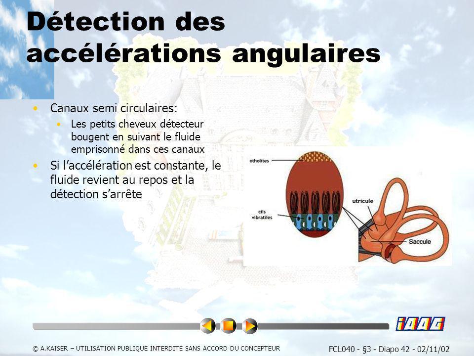 FCL040 - §3 - Diapo 42 - 02/11/02 © A.KAISER – UTILISATION PUBLIQUE INTERDITE SANS ACCORD DU CONCEPTEUR Détection des accélérations angulaires Canaux