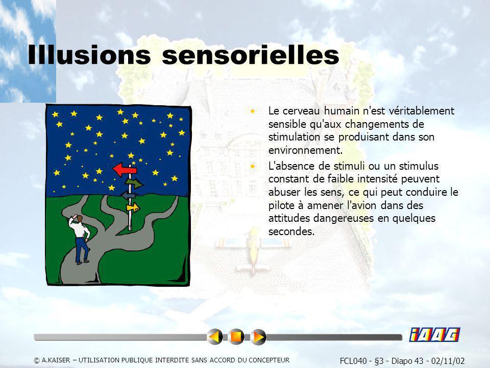 FCL040 - §3 - Diapo 43 - 02/11/02 © A.KAISER – UTILISATION PUBLIQUE INTERDITE SANS ACCORD DU CONCEPTEUR Illusions sensorielles Le cerveau humain n'est