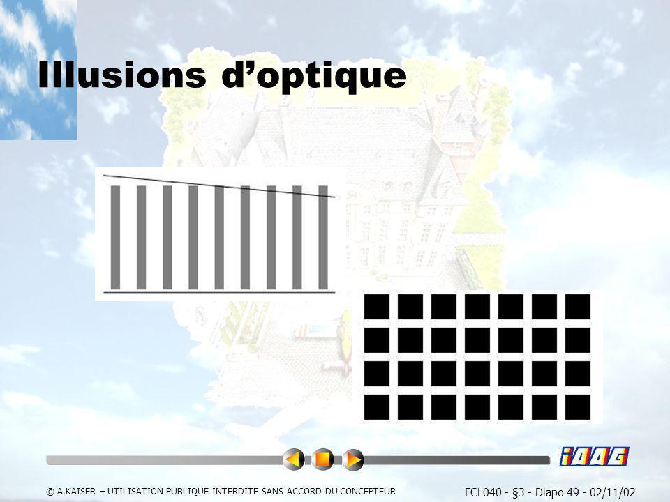 FCL040 - §3 - Diapo 49 - 02/11/02 © A.KAISER – UTILISATION PUBLIQUE INTERDITE SANS ACCORD DU CONCEPTEUR Illusions doptique