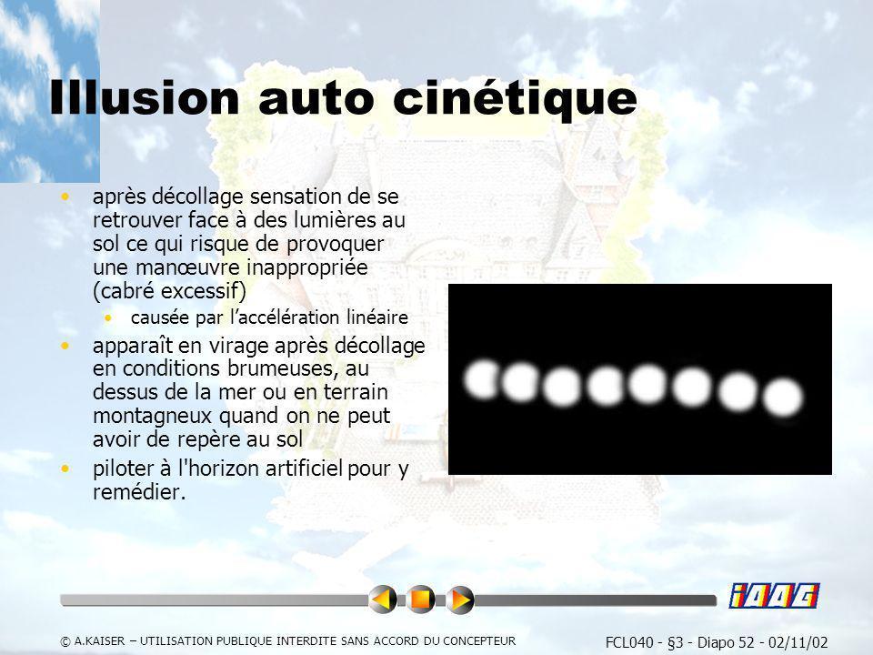 FCL040 - §3 - Diapo 52 - 02/11/02 © A.KAISER – UTILISATION PUBLIQUE INTERDITE SANS ACCORD DU CONCEPTEUR Illusion auto cinétique après décollage sensat