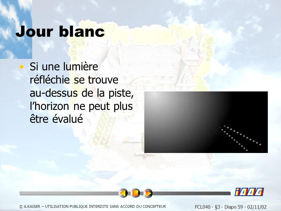 FCL040 - §3 - Diapo 59 - 02/11/02 © A.KAISER – UTILISATION PUBLIQUE INTERDITE SANS ACCORD DU CONCEPTEUR Jour blanc Si une lumière réfléchie se trouve