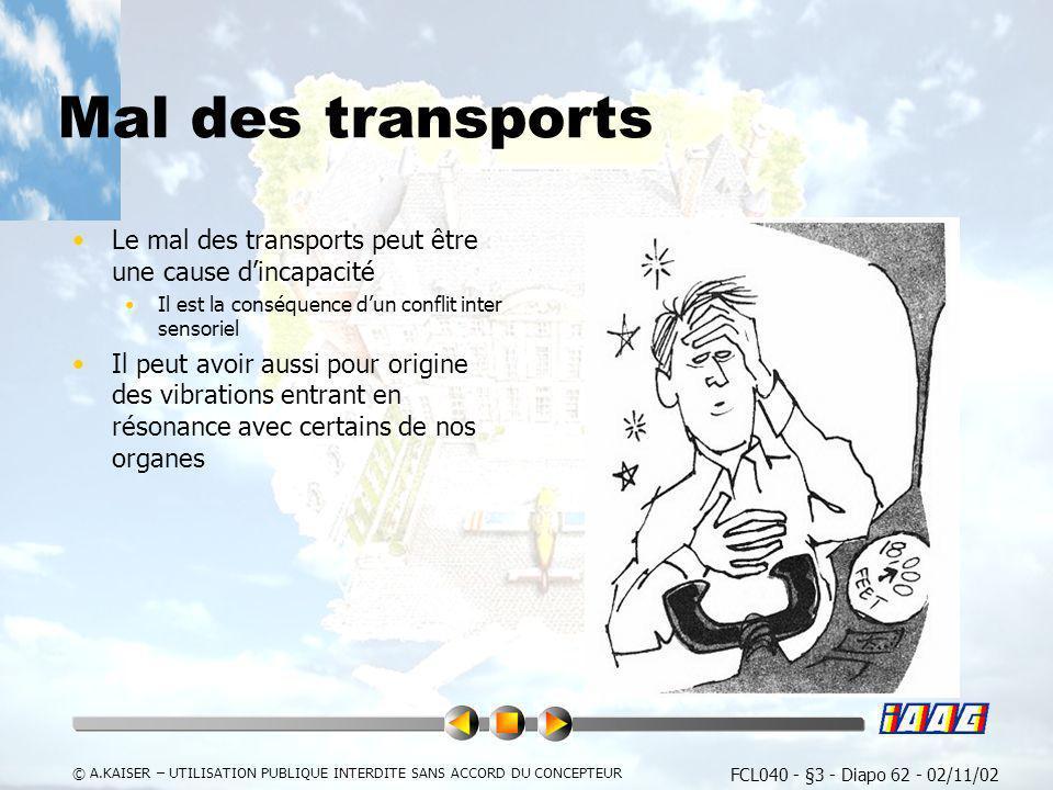 FCL040 - §3 - Diapo 62 - 02/11/02 © A.KAISER – UTILISATION PUBLIQUE INTERDITE SANS ACCORD DU CONCEPTEUR Mal des transports Le mal des transports peut