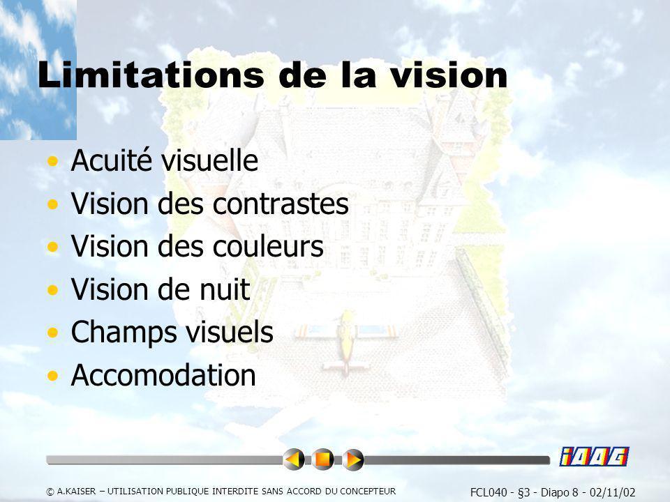 FCL040 - §3 - Diapo 8 - 02/11/02 © A.KAISER – UTILISATION PUBLIQUE INTERDITE SANS ACCORD DU CONCEPTEUR Limitations de la vision Acuité visuelle Vision