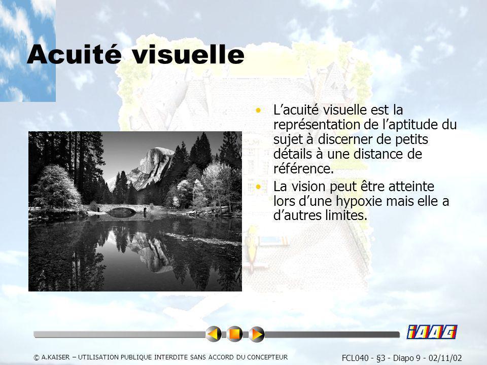 FCL040 - §3 - Diapo 9 - 02/11/02 © A.KAISER – UTILISATION PUBLIQUE INTERDITE SANS ACCORD DU CONCEPTEUR Acuité visuelle Lacuité visuelle est la représe