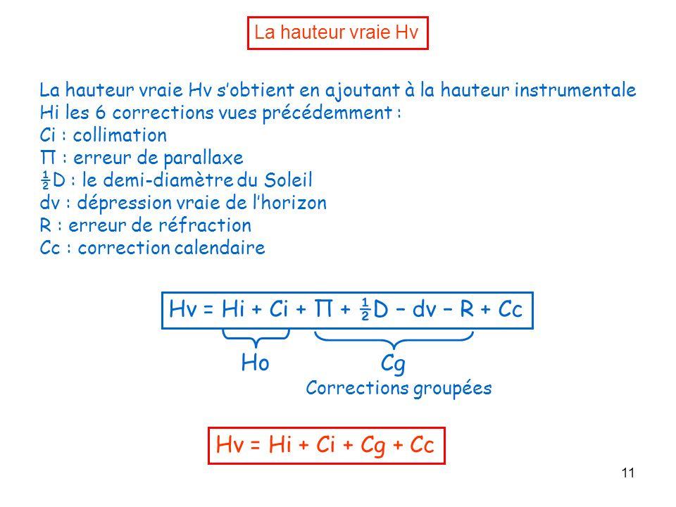 11 La hauteur vraie Hv La hauteur vraie Hv sobtient en ajoutant à la hauteur instrumentale Hi les 6 corrections vues précédemment : Ci : collimation Π