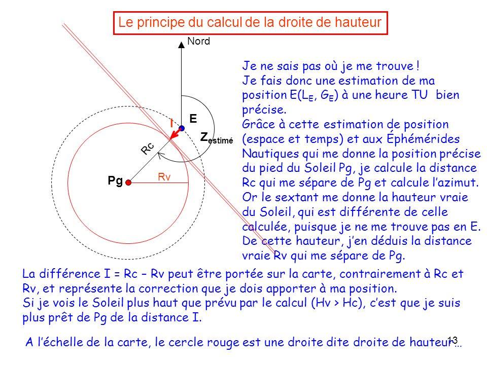 13 Le principe du calcul de la droite de hauteur Je ne sais pas où je me trouve ! Je fais donc une estimation de ma position E(L E, G E ) à une heure
