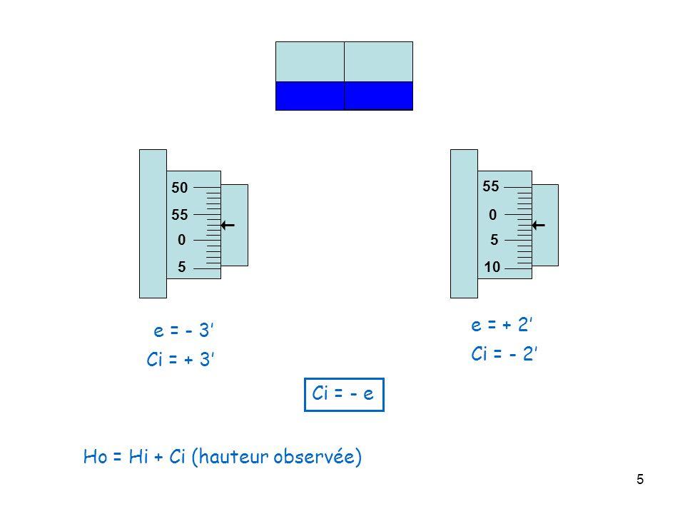 5 0 5 10 55 e = + 2 0 5 55 50 e = - 3 Ci = + 3 Ci = - 2 Ci = - e Ho = Hi + Ci (hauteur observée)