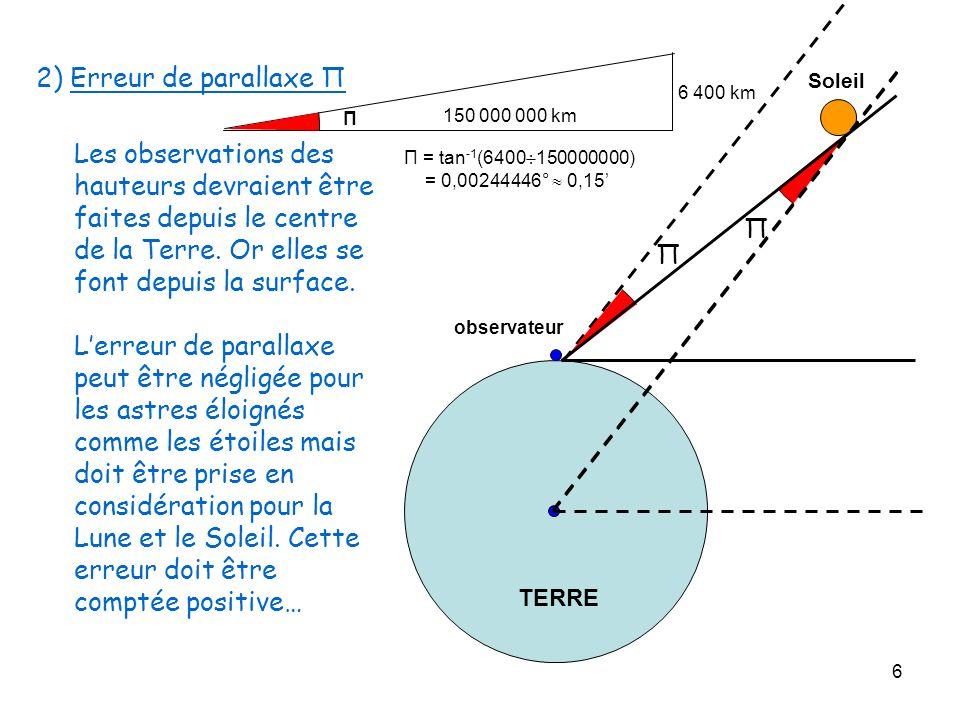 6 2) Erreur de parallaxe Π Les observations des hauteurs devraient être faites depuis le centre de la Terre. Or elles se font depuis la surface. Lerre