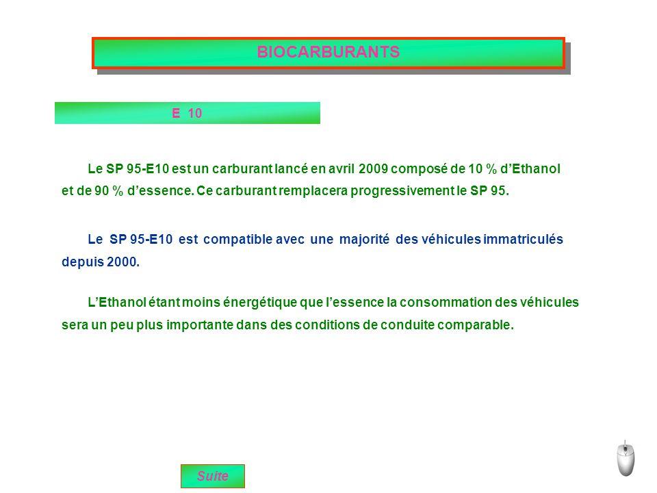 BIOCARBURANTS E 10 sera un peu plus importante dans des conditions de conduite comparable.