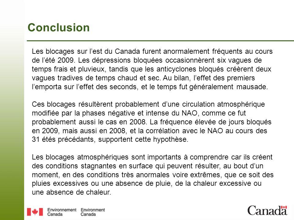 Conclusion Les blocages sur lest du Canada furent anormalement fréquents au cours de lété 2009.