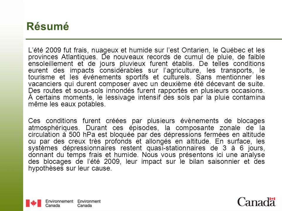 Bilan climatique de lété 2009 Lanomalie de température oscilla autour de - 4C au cours des mois dété sur sur lOntario, le sud du Quebec et le N-B., avec une anomalie maximale de - 6C au-dessus des Grands Lacs.