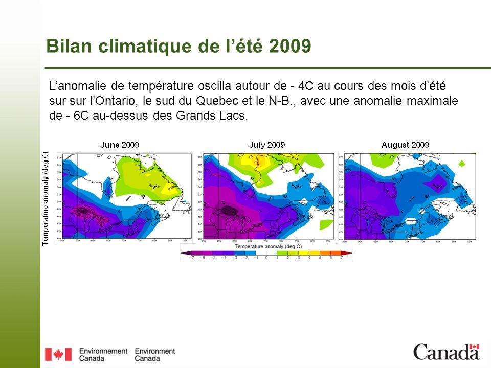 Bilan climatique de lété 2009 Les précipitations furent au-dessus des normales presque partout et atteignèrent 200% de la normale sur le sud-ouest du Quebec et la Nouvelle-Écosse.