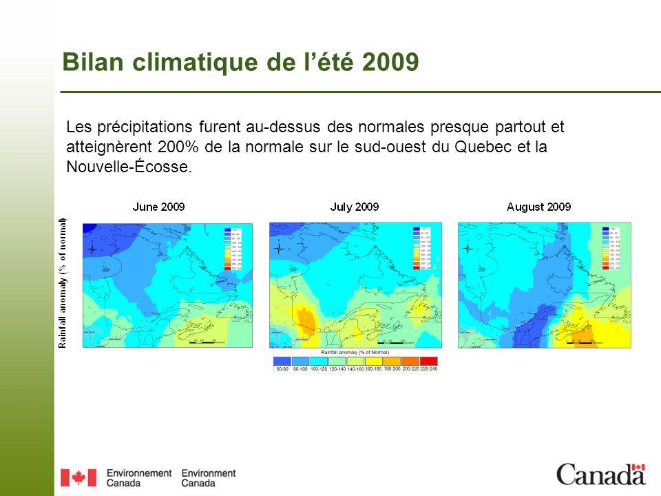 Bilan climatique de lété 2009 Le géopotentiel à 500 hPa a été sous la normale durant les trois mois, avec une anomalie maximale de -8 dam au-dessus des Grands-Lacs en août.