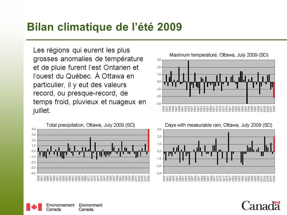 Les blocages atmosphériques de lété 2009 Au cours de lété 2009, un total de 6 blocages dépressionnaires et 2 blocages anticycloniques (boites jaunes et roses ci-dessous) affectèrent lest du Canada; le dernier commençant le 1er sept.