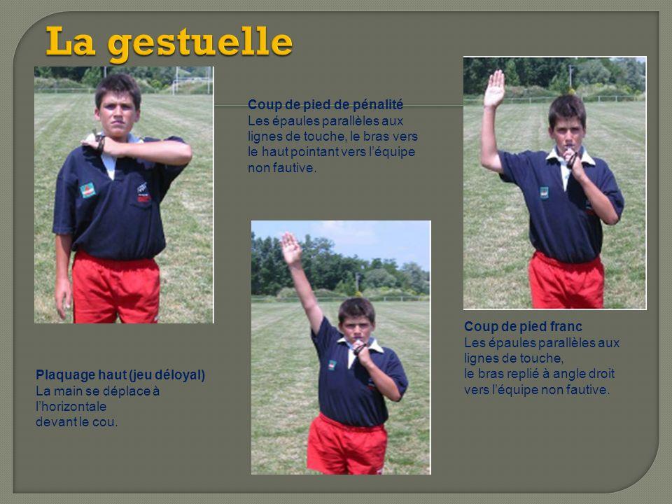 Coup de pied de pénalité Les épaules parallèles aux lignes de touche, le bras vers le haut pointant vers léquipe non fautive. Coup de pied franc Les é