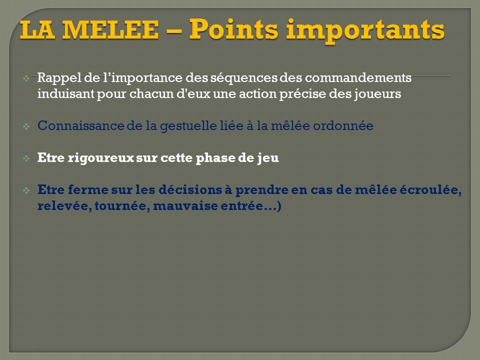 LA MELEE – Points importants Rappel de limportance des séquences des commandements induisant pour chacun d'eux une action précise des joueurs Connaiss