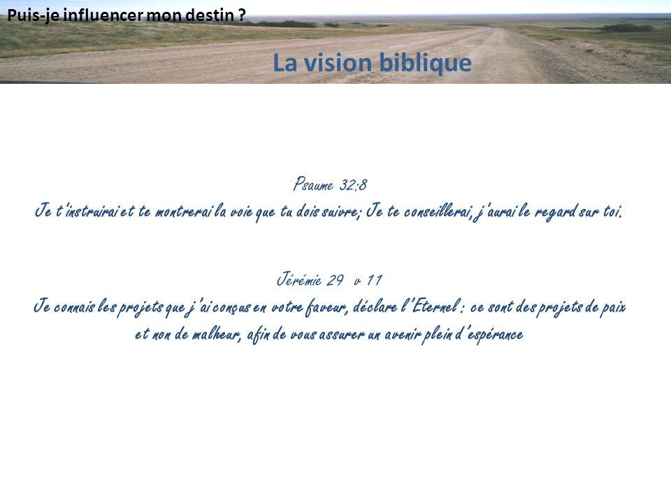 Puis-je influencer mon destin ? Psaume 32:8 Je t'instruirai et te montrerai la voie que tu dois suivre; Je te conseillerai, j'aurai le regard sur toi.