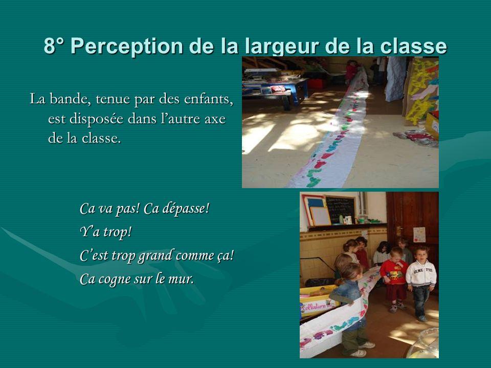8° Perception de la largeur de la classe La bande, tenue par des enfants, est disposée dans lautre axe de la classe.