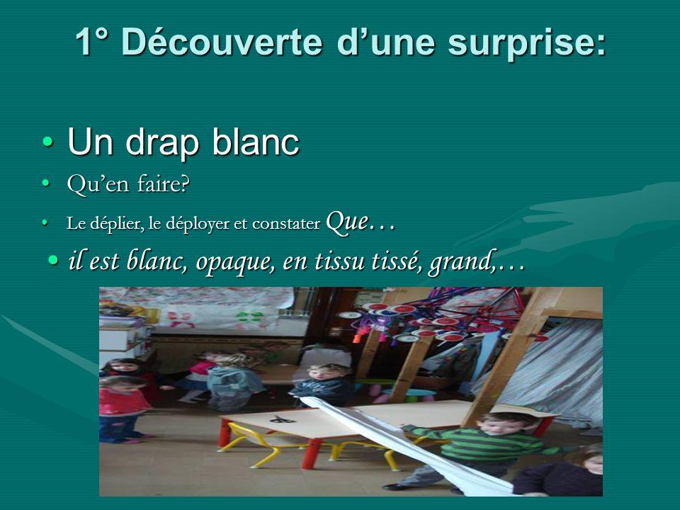1° Découverte dune surprise: Un drap blancUn drap blanc Quen faire?Quen faire.