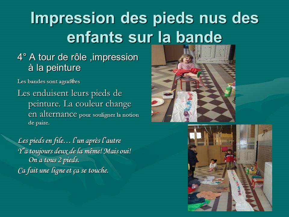 Impression des pieds nus des enfants sur la bande 4° A tour de rôle,impression à la peinture Les bandes sont agraf é es Les enduisent leurs pieds de peinture.