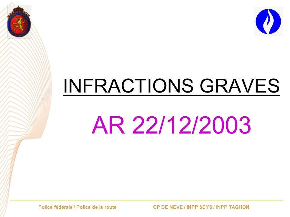 Police fédérale / Police de la route CP DE NEVE / INPP SEYS / INPP TAGHON INFRACTIONS GRAVES AR 22/12/2003