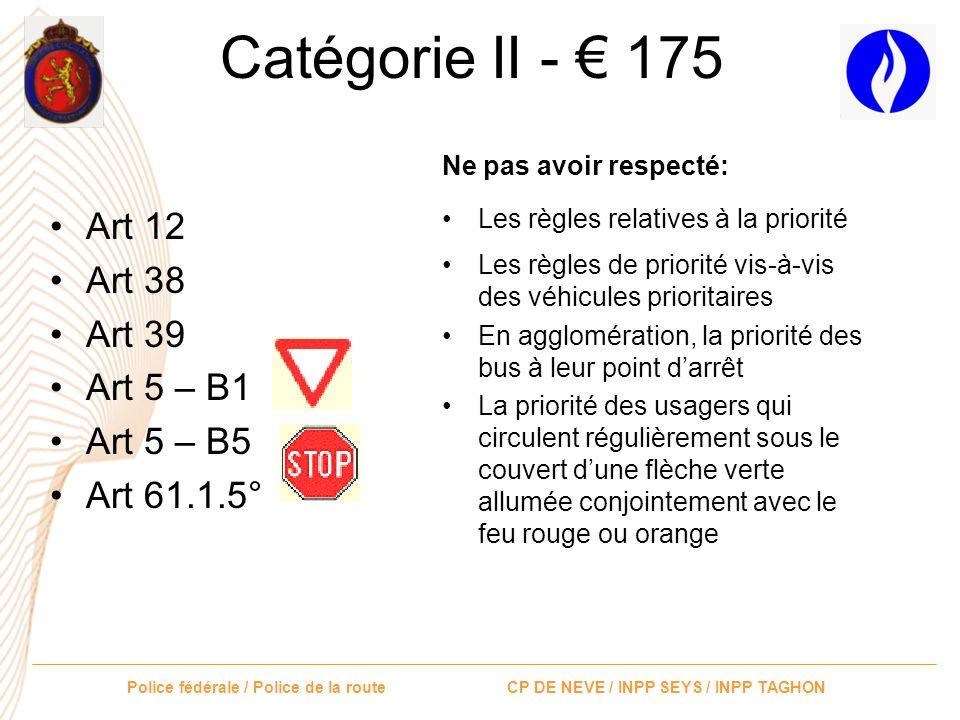 Police fédérale / Police de la route CP DE NEVE / INPP SEYS / INPP TAGHON Catégorie II - 175 Dépasser la vitesse maximale autorisée: Art 5 signal C43,