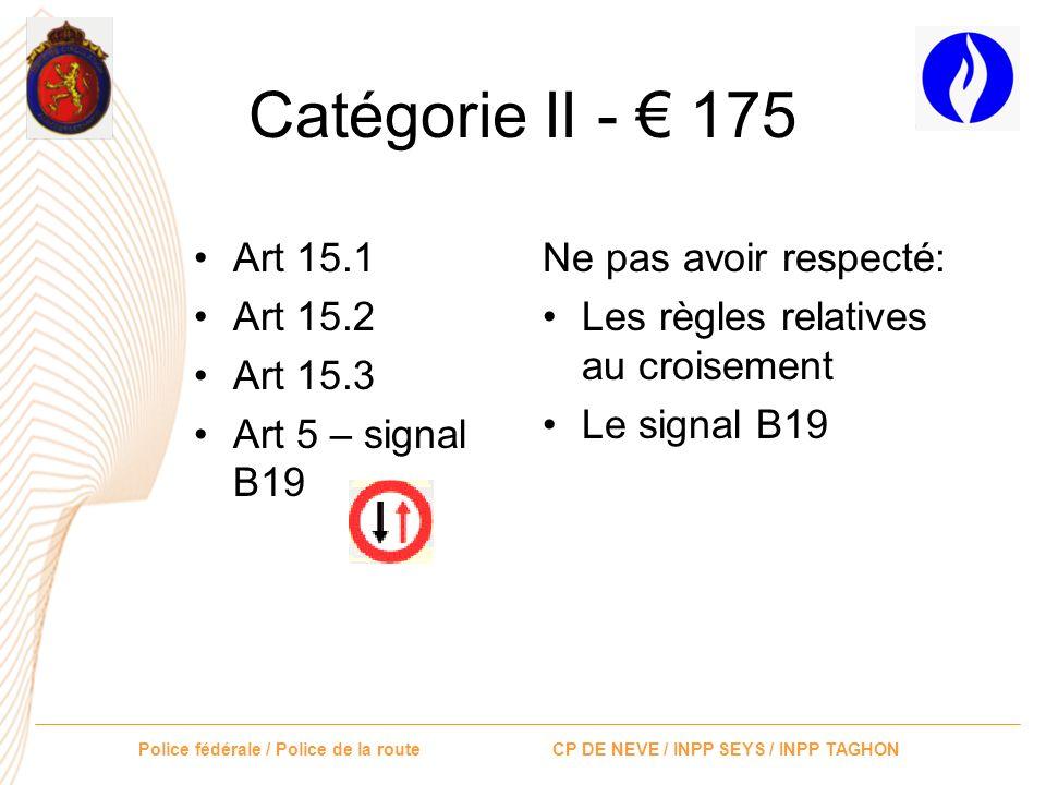 Police fédérale / Police de la route CP DE NEVE / INPP SEYS / INPP TAGHON Catégorie II - 175 Art 12 Art 38 Art 39 Art 5 – B1 Art 5 – B5 Art 61.1.5° Ne