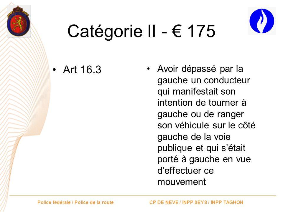 Police fédérale / Police de la route CP DE NEVE / INPP SEYS / INPP TAGHON Catégorie II - 175 Art 15.1 Art 15.2 Art 15.3 Art 5 – signal B19 Ne pas avoi