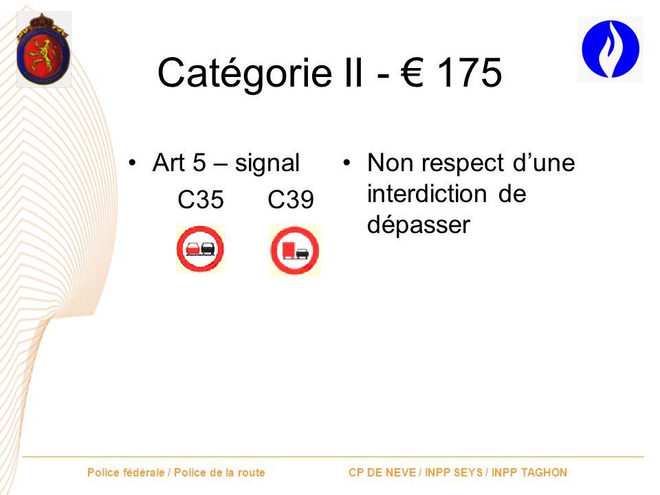 Police fédérale / Police de la route CP DE NEVE / INPP SEYS / INPP TAGHON Catégorie II - 175 Art 17.1 Avoir dépassé par la gauche lorsque le conducteu
