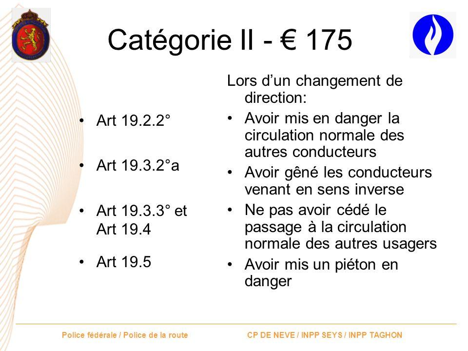 Police fédérale / Police de la route CP DE NEVE / INPP SEYS / INPP TAGHON Catégorie II - 175 Art 18.2Ne pas avoir respecté les intervalles entre véhic