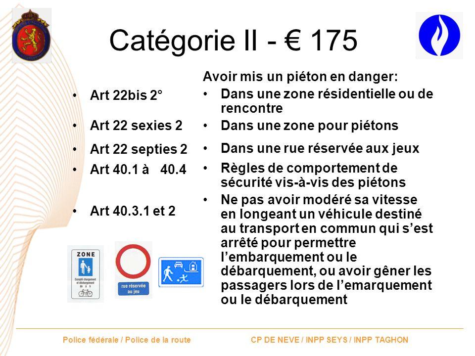 Police fédérale / Police de la route CP DE NEVE / INPP SEYS / INPP TAGHON Catégorie II - 175 Art 17.2.5° Avoir mis un piéton, un cycliste ou un conduc