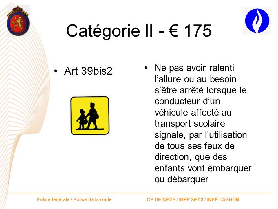 Police fédérale / Police de la route CP DE NEVE / INPP SEYS / INPP TAGHON Catégorie II - 175 Art 30.1 et 30.4Avoir circulé avec un véhicule à moteur,