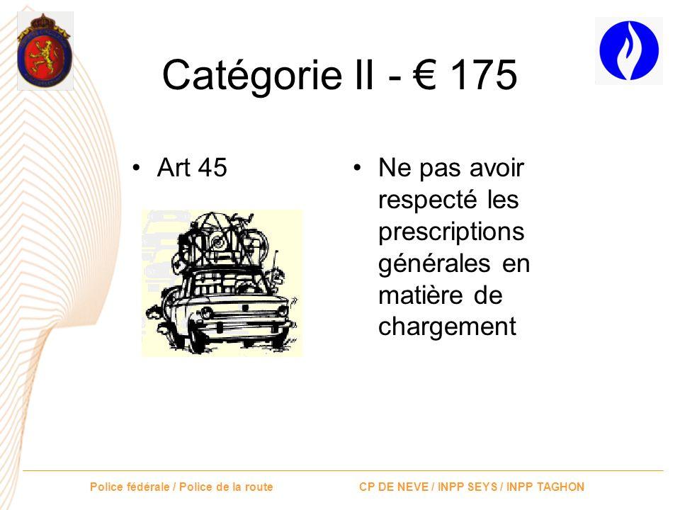 Police fédérale / Police de la route CP DE NEVE / INPP SEYS / INPP TAGHON Catégorie II - 175 Art 40bis 1 et 2 Art 41.1 Art 41.2 Art 41.3.1° Avoir coup
