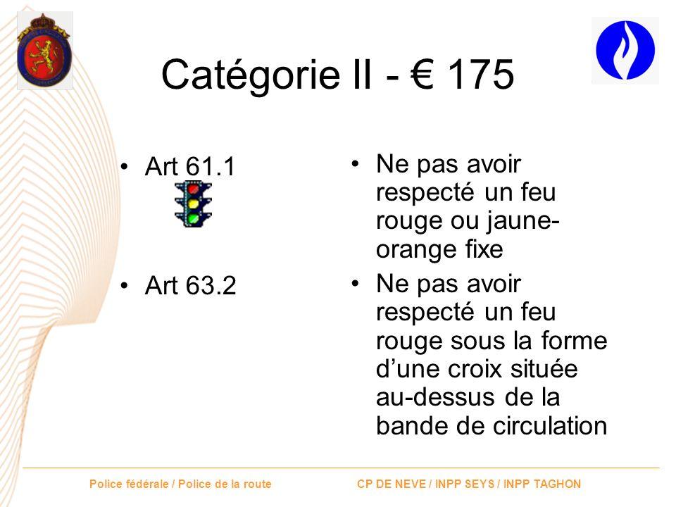Police fédérale / Police de la route CP DE NEVE / INPP SEYS / INPP TAGHON Catégorie II - 175 Art 48 bis Art 5, signaux C24a, b, c Ne pas respecter les