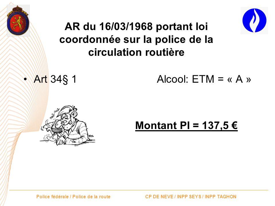 Police fédérale / Police de la route CP DE NEVE / INPP SEYS / INPP TAGHON PAS DINFRACTION GRAVE = 50 Tous les autres articles !!