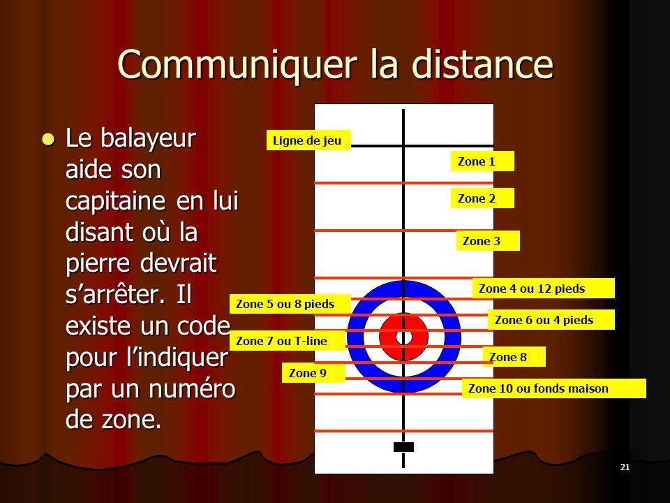 21 Communiquer la distance Le balayeur aide son capitaine en lui disant où la pierre devrait sarrêter. Il existe un code pour lindiquer par un numéro