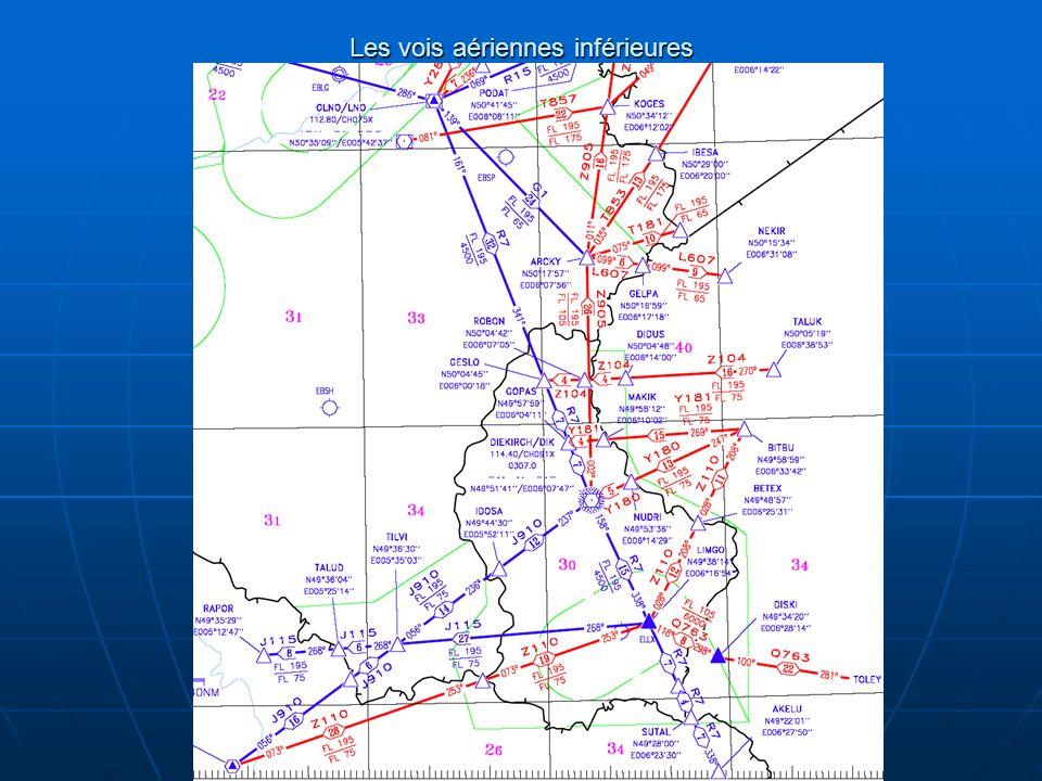 Les voies aériennes (AWY) dune largeur de 10 NM Ces espaces aériens contrôlés sont de classe D jusquau FL 135 (inclus) et de classe B au-dessus du FL 135