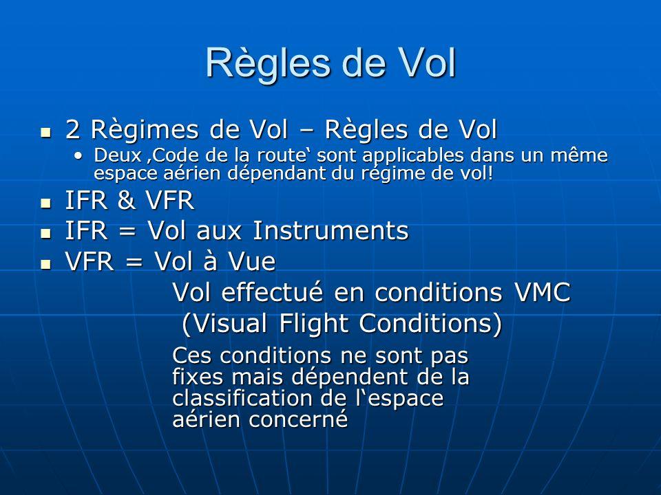 Espace aérien de classe F&G Sèparation assurée Néant Services assurés Service dinformation de vol Minima VMC 8 km à et au-dessus du FL 100 5 km au-dessous du FL 100 Distance aux nuages: 300 m vertical 1500m horizontal A et en-dessous 3000 ft QNH ou 1000 ft au-dessus de la surface (ce est qui est le plus haut): Hors des nuages et en vue de la surface Limite de vitesse 250 kt VI au-dessous de FL 100 Radio communications Non - Requis Autorisation ATC Non - Requise Transpondeur Non - Requis