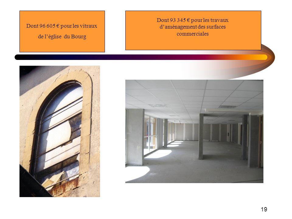 19 Dont 96 605 pour les vitraux de léglise du Bourg Dont 93 345 pour les travaux daménagement des surfaces commerciales